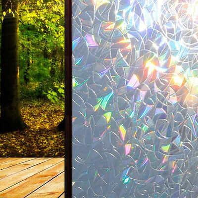PVC Stained Glass Panel Window  Decal Sticker No Glue 3D Static Decor 45*100CM