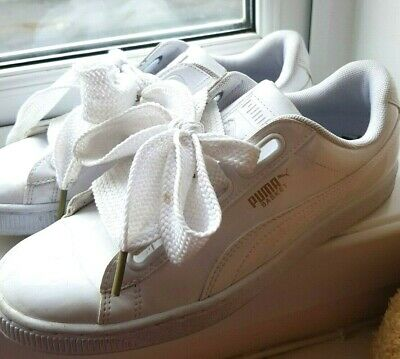 PUMA BASKET HEART White Patent Trainers Size 6 EUR 39