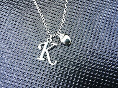 Personalised Initial (Silver Plated Letter) Necklace + Heart Pendant + Gift Bag