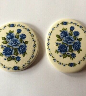 2 Beautiful Bouquets Of Blue Flowers-Mosaic Tile/ Pendant -Kiln Fired handmade