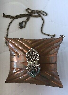 Vintage Brass & Copper Ornate Metal Pillow Purse Velvet Lining With Chain LQQK