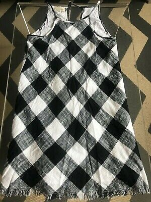 1b56f0ebcee NEW NWT ANTHROPOLOGIE Cloth and stone Frayed Gingham Plaid black ...