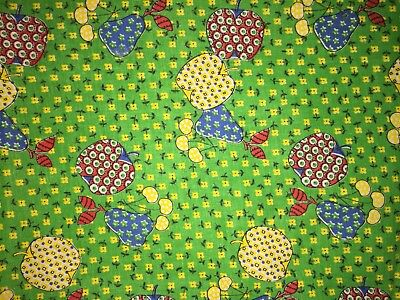 VINTAGE COTTON BLEND~QUILTING FABRIC~PATCHWORK APPLES~PEAR CHERRIES~2-3YDS Total