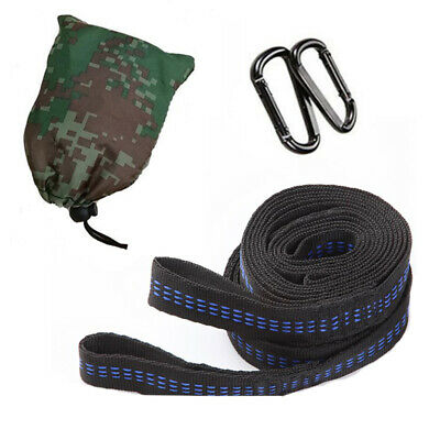 Adjustable Strong Rope Hanging Hammock Tree Straps Heavy Duty Belt With 2 Hooks