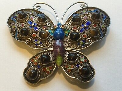 Antique Chinese Sterling Silver Enameled Butterfly Brooch w/ Tiger's Eye Stones