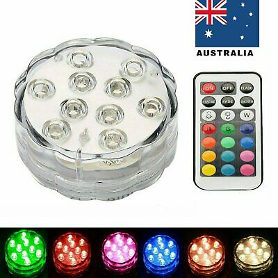 4X 10 LED Light Waterproof RGB Submersible Xtmas Party Vase Lamp Remote Control
