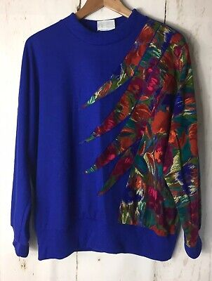 Kenwall Size 18 16 Vintage 80s Sweater Blue Applique Detail Ugly Top Long Sleeve