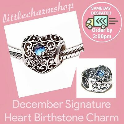 65ef2586d Genuine PANDORA December Signature Heart Birthstone Charm - 791784NLB