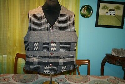 VINTAGE MENS ROCKABILLY TRADITIONAL OUTERWEAR VEST Size M Wool polyester blend
