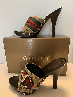 07b0c05cf GUCCI NIB Beige/Ebony GG Canvas Vintage Web Horsebit Wood Mule Heel Sandals  8.5