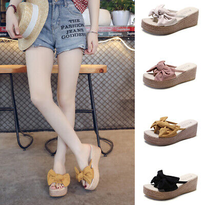 Fashion Women Flip Flop Bowknot Platfrom Sandals Ladies Wedge Casual Mules Shoes