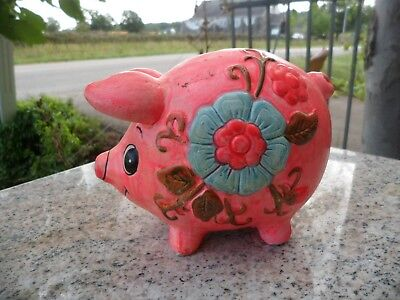 Vintage Ceramic Neon Pink Piggy Coin Bank Blue Flower Taiwan Pig 1970s Hippie