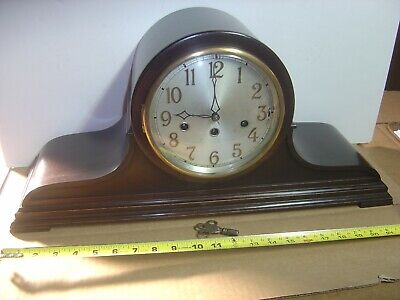 Large Antique Junghans Westminster A32 chime Mantel Mantle Tambour Clock Working