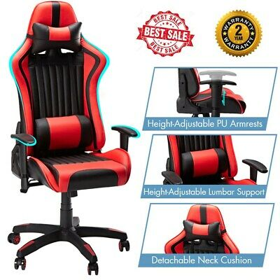 Silla Gaming Racing Gamer Giratoria Reclinable Videojuegos Ergonómico Rojo+Negro