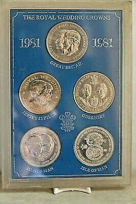 1981 Crown Coin Set Of 5 ~ Royal Wedding Of Prince Charles & Lady Diana Spencer