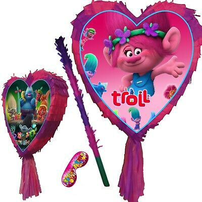 Love Heart Pinata set Poppy Smash Party Fun Branch Stick Pink birthday Trolls UK