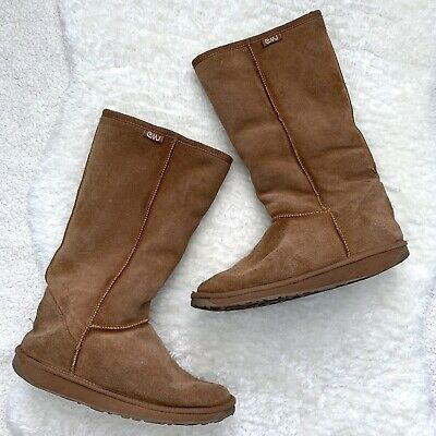 afb7f3c0bc EMU SZ 7 Shearling Wool Lined Suede Leather Camel Brown Winter Boots Warm  Womens