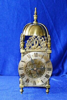 Antique Vintage Large Heavy Solid Brass Elliot Lantern Clock Working