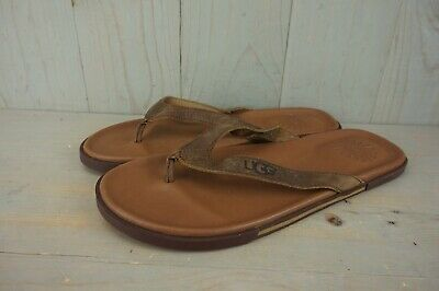 b41d60aa797 UGG BENNISON LUGGAGE Brown Leather Flip Flops Mens Us 13 New