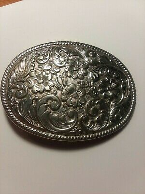 Belt Buckle Vintage Western Silverplated Chambers Phoenix Floral Oval I