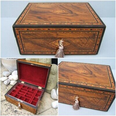 Superb 19C Inlaid Figured Walnut Antique Inlaid Jewellery Box - Fab Interior