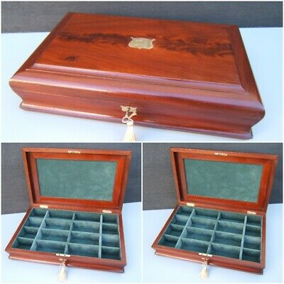 Terrific 19C Victorian Large Mahogany Antique Jewellery Box - Fab Interior