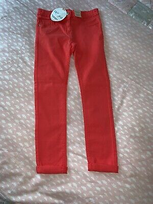 Girls Lovely Soft New Marks & Spencer Pink Jeans Trousers 8-9 Adjustable Waist