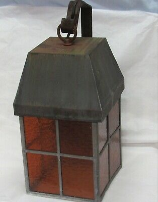 Antique Vintage Arts Crafts Tudor Gothic Copper Wall Sconce Porch Light