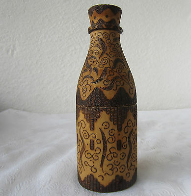 Antique  WOODEN BOX  -  bottle shaped pyrography pokerwork ornate, folk art