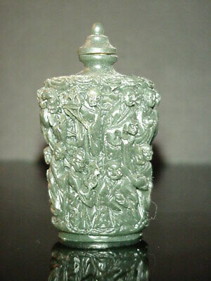 Antique Chinese Perfume Snuff Bottle Green Nephrite Jade Carved People Rare