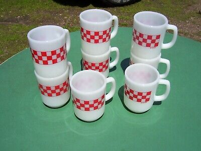 8 Vintage Ralston Purina Red Checker R. P. CO. Milk Glass Coffee Cup Mugs NOS