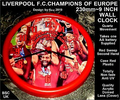 LIVERPOOL QUARTZ WALL CLOCK~CHAMPIONS OF EUROPE 2019~AA battery included
