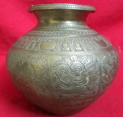 Vintage Collectible Hand Crafted 10 Tribal God Carved Brass Water Pot Holy Pot