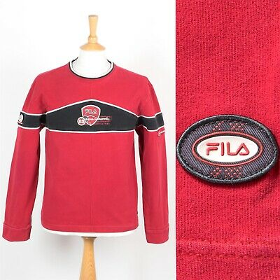 59e64ac9ea Rare Vintage Fila Sweatshirt Red Sweater 90'S Bikers Motorcycle Trials M