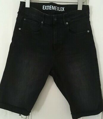 Hennes H&M Boys Black Denim Stretch Skinny Fit Sorts Sz 14Y