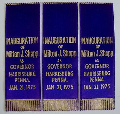 Vintage Lot Of 3 1975 Milton Shapp Pennsylvania Governor Inauguration Ribbons