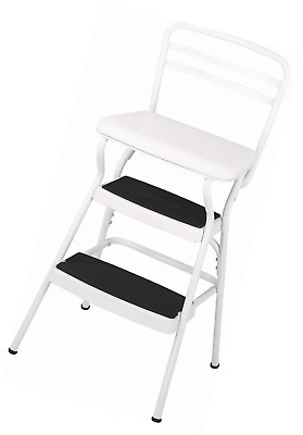 Wondrous Cosco White Retro Counter Chair Step Stool With Lift Up Ncnpc Chair Design For Home Ncnpcorg