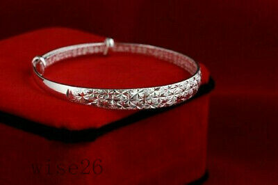 Women 925 Silver Crystal Chain Bangle Cuff Charm Bracelet Jewelry Gift