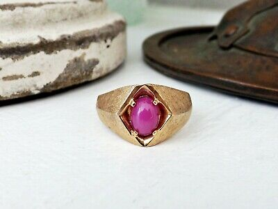 Old Art Deco Gold Filled Star Ruby Gemstone Mens Ladies Vintage Size 9.5 Ring