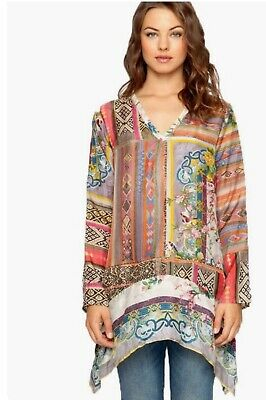 ❤️New Johnny Was 100% Silk Georgette Patchwork Print Tunic / Dress Sz S $248 ❤️