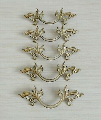 """Belwith Brass P1751 French Provincial Drawer Pulls 3"""" Bore Set Of 5 White Gold"""