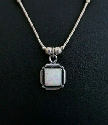 Vtg 925 Sterling Silver Artisan Square 8mm Fire Opal Pendant Beaded Necklace