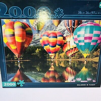 Jigsaw Puzzle Balloons in Flight 2000 Piece Hot Air Lake Mountains Complete