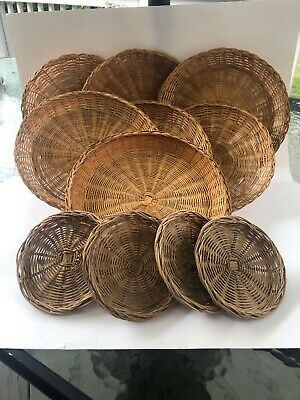 Lot of 11_Wicker/Rattan Paper Plate Holders_2 Different Sizes_Picnic_Summer