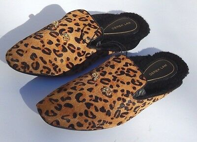 f6a67024a2cc DEREK LAM WOMENS SLIPPERS SLIDE BROWN LEOPARD sz S(5-6) NEW AUTHENTIC