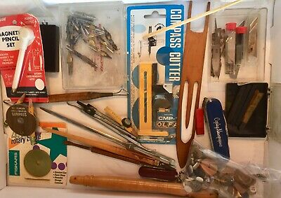 Vintage -Junk Drawer Of Art Supplies Compass Pen Tips Blades And More LQQK!