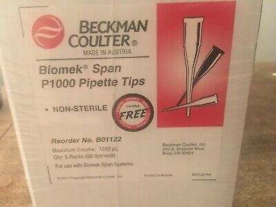 Box Of 480 Beckman Coulter B01122 Biomek Span P1000 Pipette Tips 5-96Pc Packs