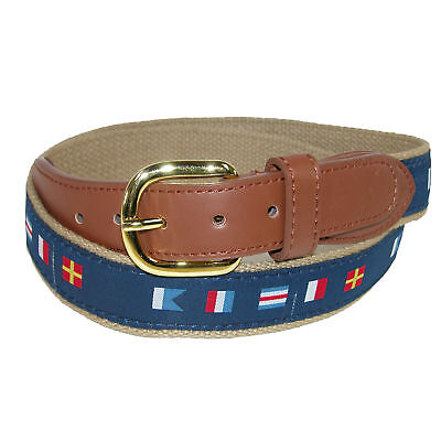 New CTM Men's Woven Fabric Belt with Nautical Signal Flags Ribbon Overlay