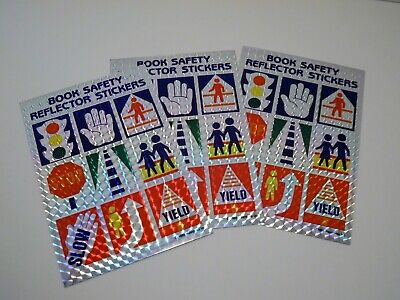 Vintage 1985 - Book Safety Reflector Stickers - 3 Sheets - Prism Stickers