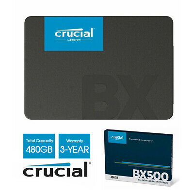 """New Crucial BX500 480GB 2.5"""" SSD SATA Internal Solid State Drive 540Mbs 3Ys Wty"""
